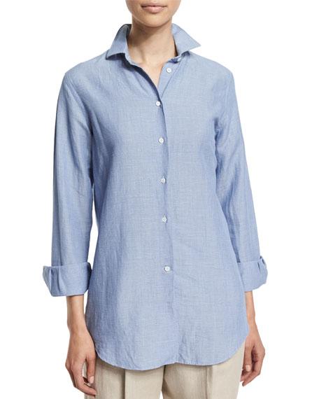 Kara Button-Front Blouse, Azure Bleached