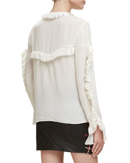 Bruges Long-Sleeve Ruffle Silk Blouse, Pink