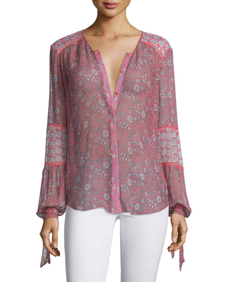 Rebecca Taylor Amanda Long-Sleeve Floral Cotton-Blend Top,