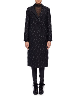Brocade Snap-Front Long Coat, Black