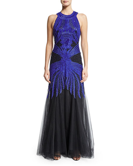 Sleeveless Embroidered Racerback Gown, Cobalt/Black