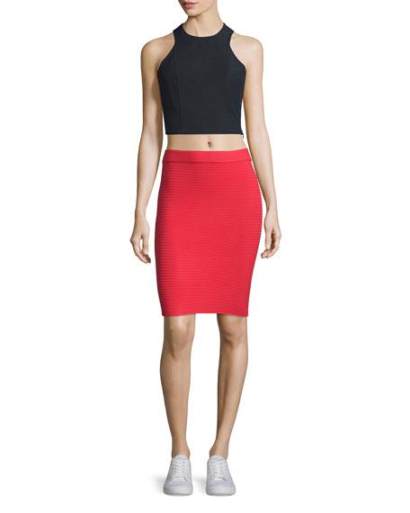 Ribbed Ponte Pencil Skirt