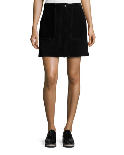 Denny Suede Mini Skirt, Black