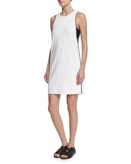 Clementine Bandeau-Trim Shift Dress, Bright White