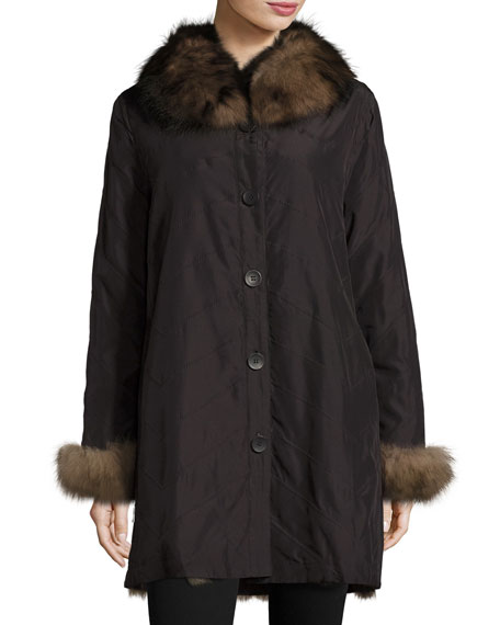 Reversible/Packable Fox Fur Long Coat, Black