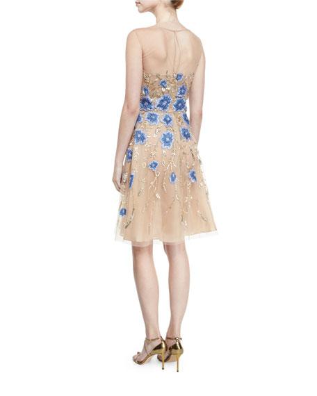 Floral-Appliqué Illusion Cocktail Dress. Gold/Blue