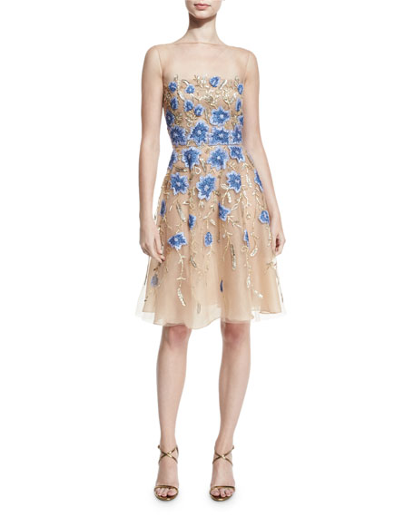 8b8b952d45b Naeem Khan Floral-Appliqué Illusion Cocktail Dress. Gold Blue