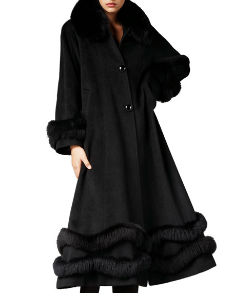 Fox-Trim Ankle-Length Cashmere Coat, Black