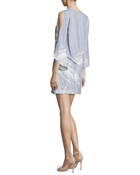 Split-Sleeve Bateau-Neck Graphic Shift Dress, Slate Gray