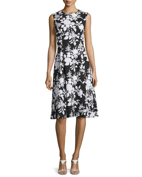 Sleeveless Two-Tone Floral-Print Dress, Black/White