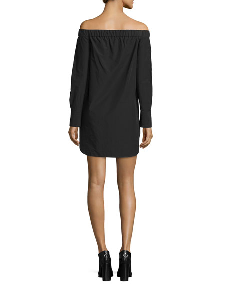 Kacy Off-the-Shoulder Poplin Mini Dress, Black