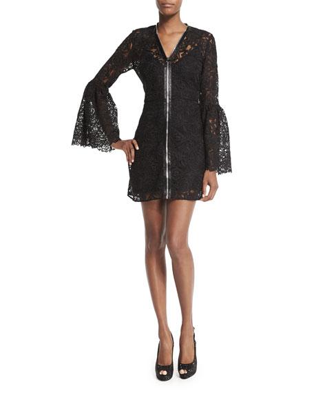 8bb6a0f7c2005 McQ Alexander McQueen Long-Sleeve Lace Zip-Front Mini Dress, Black