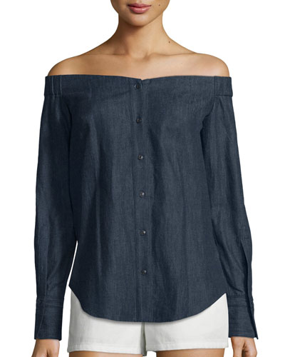 Kacy Reversible Chambray Off-the-Shoulder Tunic, Indigo