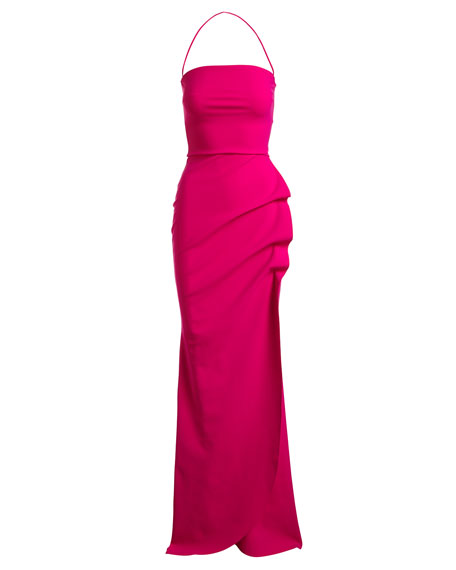 Clotilde Strapless Long Gown w/ Halter Strap