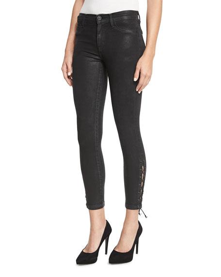 b361011a912 Hudson Nix Lace-Up Cropped Jeans, Black