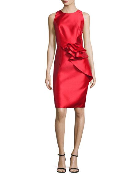 Sleeveless Ruffle-Trim Satin Cocktail Dress, Royal