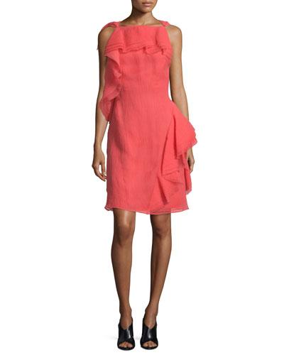 Sleeveless Ruffled Organza Dress  Berry