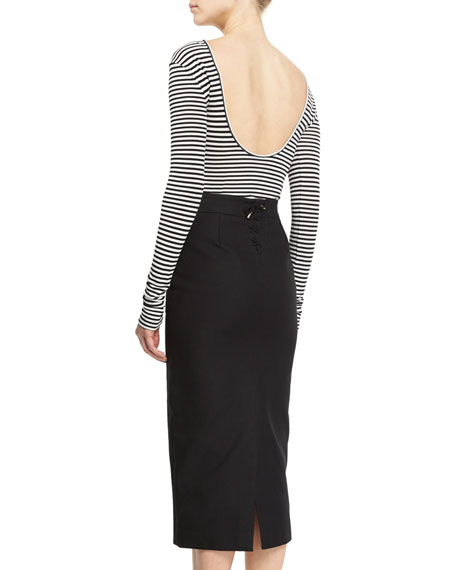 Striped Long-Sleeve Scoop-Back Top, Black