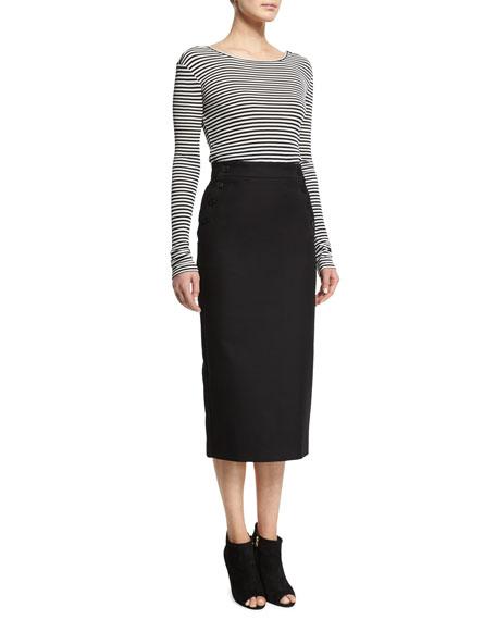 Striped Long-Sleeve Scoop-Back Top, Black