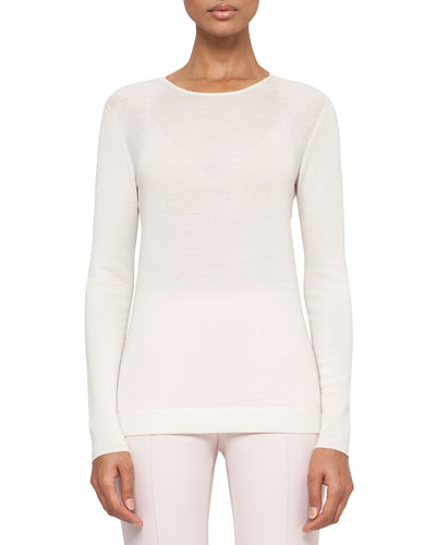 Long-Sleeve Cashmere/Silk Jewel-Neck Pullover, Pelican