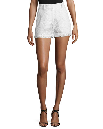 Lace High-Rise Shorts  Ivory
