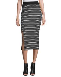 Engineered Striped Ribbed Pencil Skirt, Black/White