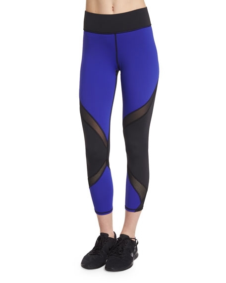 Hydra Colorblock Cropped Sport Leggings, Indigo