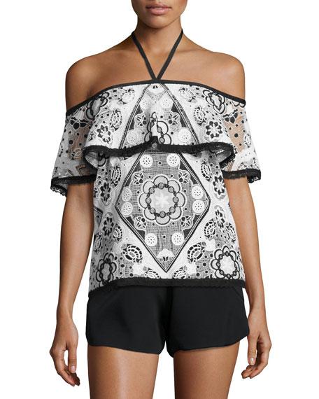 Isa Off-The-Shoulder Contrast-Trim Top, Black/White