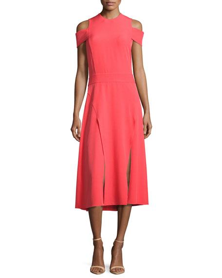 Halston Heritage Short-Sleeve Cold-Shoulder Midi Dress w/