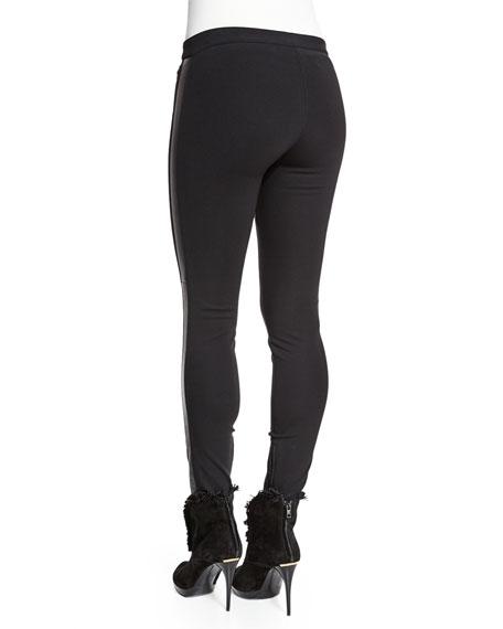 Low-Rise Leggings W/Racing Stripe, Black
