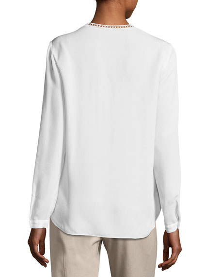 Lilianna Long-Sleeve Lace-Trim Blouse, White
