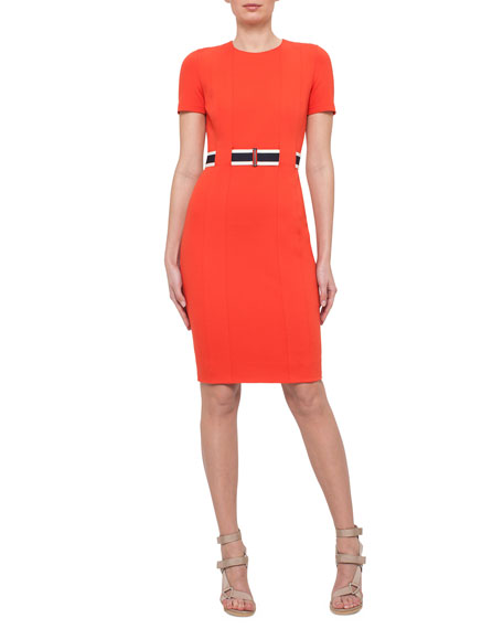 Short-Sleeve Belted Sheath Dress, Rust