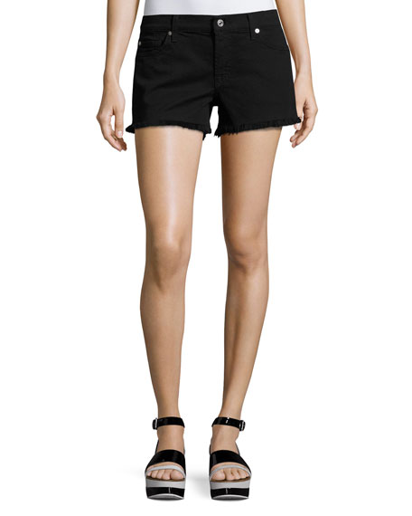 Cutoff Denim Shorts, Black