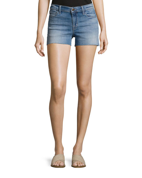 J Brand 1044 Mid-Rise Patchwork Denim Cutoff Shorts,