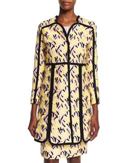 Floral-Print Caban Coat W/Contrast Trim, Yellow