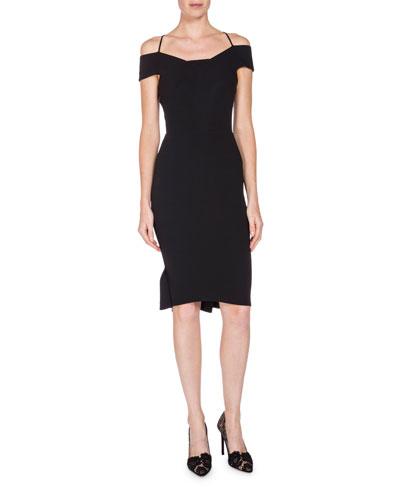 Off-the-Shoulder Pleated-Hem Dress