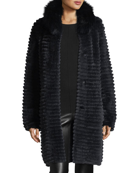 Ribbed Rabbit Fur Coat