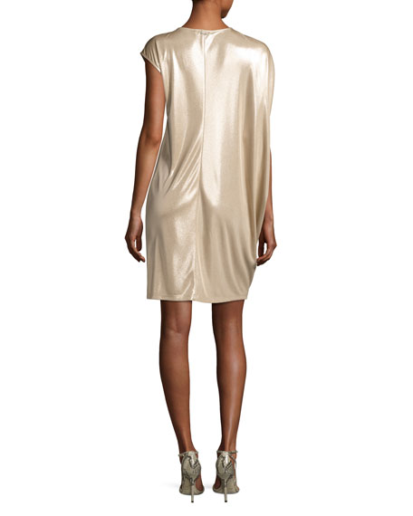 Asymmetric-Sleeve Metallic Jersey Dress, Champagne
