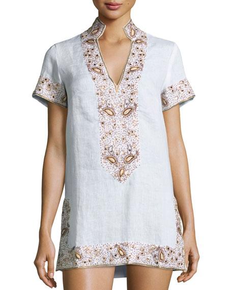 FLORABELLA Viceroy Beaded Linen Short Coverup Tunic, Sunrise