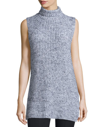 Sleeveless Marled Chunky Cotton-Blend Sweater, Black/White
