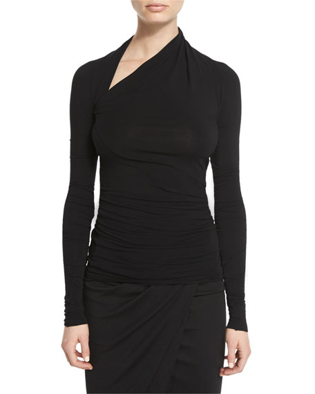 Long-Sleeve Slashed Jersey Top, Black