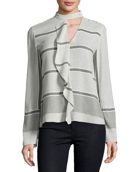 Long-Sleeve Striped Ruffle Blouse, Gray/Multicolor
