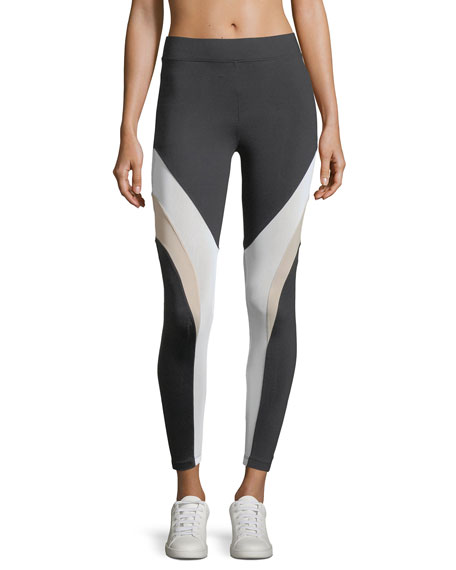 Koral Activewear Frame High-Rise Mesh Panels Ankle Leggings