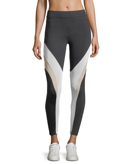 Koral Activewear Frame High-Rise Mesh Panels Ankle Leggings
