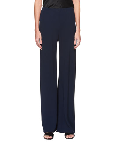 Gala Straight-Leg Cady Pants, Black