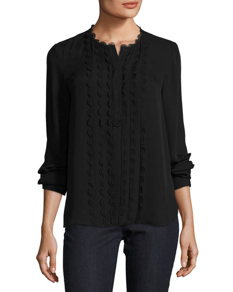 Antonella Scalloped-Trim Silk Blouse, Black