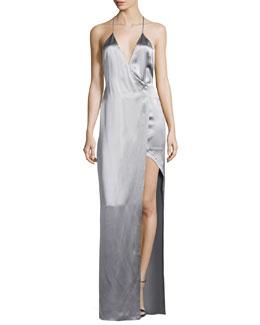 Satin Racerback Column Gown, Gray
