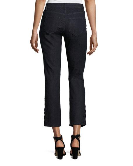 Kiana Ankle Jeans w/ Beaded Lace Cuffs, Blue