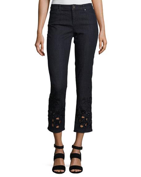 Elie Tahari Kiana Ankle Jeans w/ Beaded Lace
