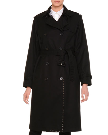 Rockstud Double-Breasted Trenchcoat, Black